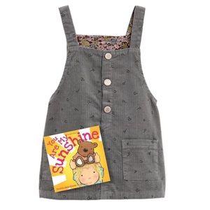 ZARA • Gray Corduroy Overall Romper Pinafore Dress